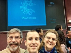 MRCL Attends October 16th Call for Code – Hurricane Florence Event at IBM RTP, NC. Left to right: Larry Marks Secretary NC VOAD, Lee Duncan IBM and MRCL volunteer designer, Kathryn Ingerly Executive Director MRCL